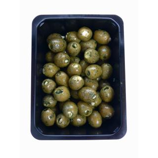 Oliven grün mit Knoblauchfüllung